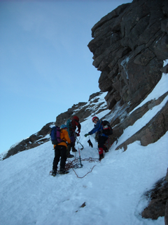 Beginning the climb at the buttress foot
