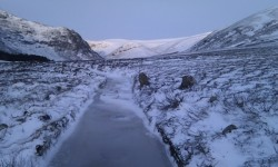 The icy path in Glen Esk