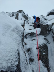 Antoine on the last pitch of Jenga buttress