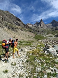Hiking up the 1200m from Les Etages to the Aiguille Dibona