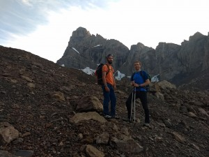 Antoine and Andrew with the Aiguille Meridionale D'Arves in the background
