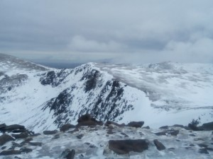 view across to Cairngorm from top of Fiacaill Buttress